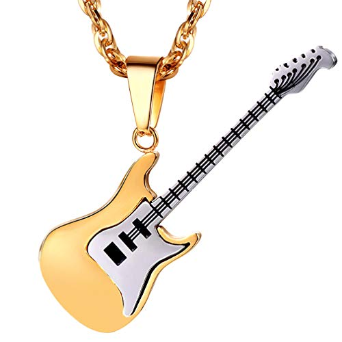 (PROSTEEL Guitar Pendant Necklace Stainless Steel Gold Plated Gifts for Musicians Guitar Player Music Lover Guitarist Jewelry Men Women Hip Hop Rock Necklace)