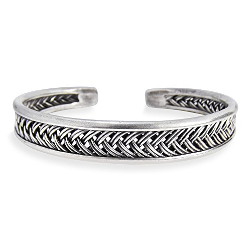 AeraVida Braided Thai Karen Hill Tribe Fine Silver Handmade Cuff Bracelet ()