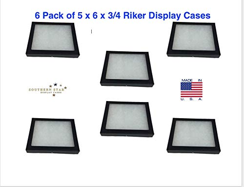 Southern Star 6 Pack of Riker Display Cases 5 x 6 x 3/4 for Collectibles, Arrowheads & More