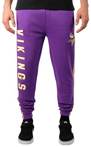 Minnesota Sweatpants - ICER Brands Adult Men Jogger Pants Active Basic Fleece Sweatpants, Team Color Stripe, Large
