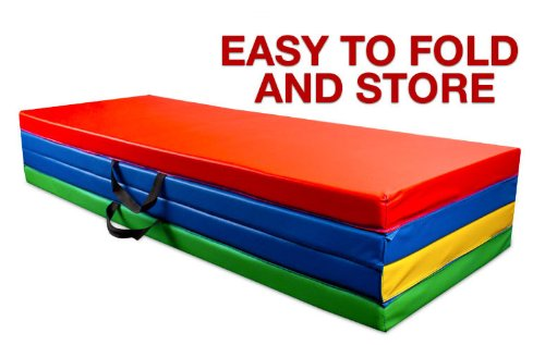 Folding Multi Color Gymnastics Tumbling Mat - 4ft x 6ft Unfolded! by Crown (Image #1)