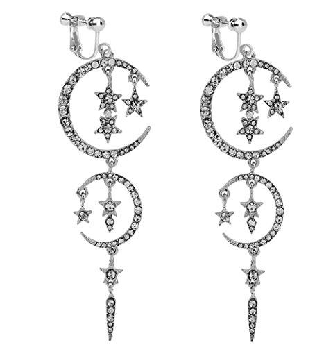 Usresu Clip on Earrings Vintage Star Moon Tassels Dangle Rhinestone Silver-tone Plated