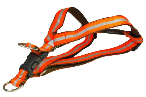 Picture of Sassy Dog Wear 18-24-Inch Reflective Orange Dog Harness, Medium