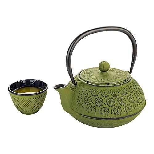 Tetsubin Green Cast Iron Teapot - Restaurantware RWM0082G Tetsubin 30 oz Green Cast Iron Teapot Cherry Blossom 7 6 x 4 1/2