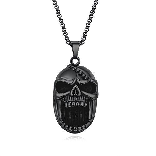 Men's Gothic Skull Pendant Necklace, Beer Bottle Opener Pendant for Men Stainless Steel Biker Punk Rock Hip Hop Jewelry Gift, Solid Heavy large Black Color (Bottle Opener Necklace)