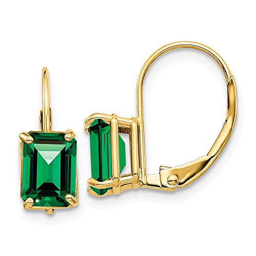 (14k Yellow Gold 7x5mm Emerald Cut Mount St. Helens Leverback Earrings 16x5 mm)