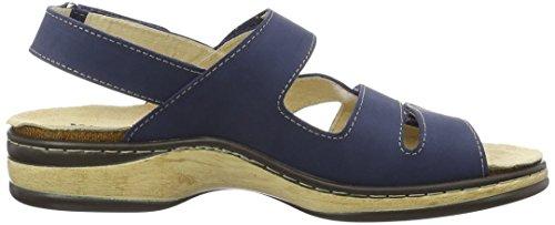 Weeger 15640, Sandalias de Punta Descubierta para Mujer Azul (Phlox/white/flash Coral)