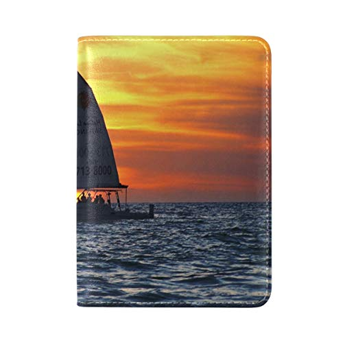 NfuquyamDoormat Sailboat Gulf Of Mexico Real Leather Passport Holder Cover Travel Case 5.5 inch