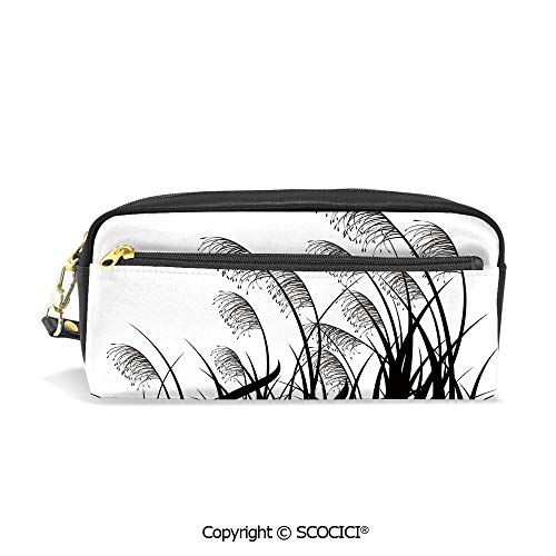 PU Leather Student Pencil Bag Multi Function Pen Pouch Silhouette of Bushes Wild Plants Wheat Field Twiggy Herbs Seasonal Picture Office Organizer Case Cosmetic Makeup Bag