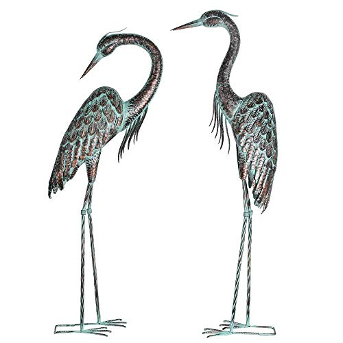 Kircust Garden Crane Statues, Standing Metal Patina Heron Decoy Outdoor Statue Large Size Bird Yard Art for Patio Lawn Pond, Set of 2