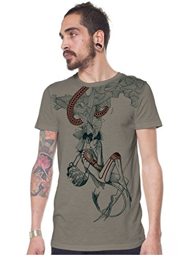 Mens Graphic T-Shirt Drakaina Humanoid Dragon Woman Print Urban Festival Top M ()