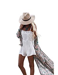 Zoye Chen Women's Summer Blouse Loose Kimono Floral Print Cardigan Chiffon Beachwear Dress