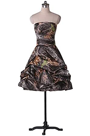 Sunvary Camouflage Strapless Pleated Short Cocktail Homecoming Dresses for Junior Size 2