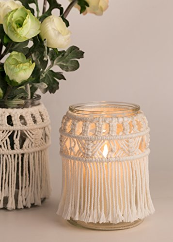 Mkono Candle Holder Macrame Flower Vase Decorative Centerpieces Home decor (with Glass Jar) by Mkono