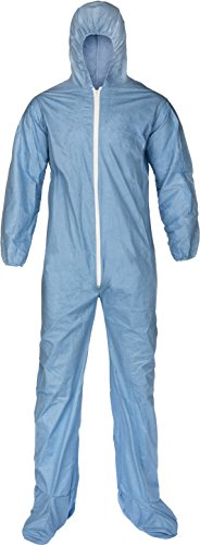 Lakeland Pyrolon Plus 2 Flame-Resistant Disposable Coverall with Hood and Boots, Blue, Large, Elastic Cuff (Case of 25) ()