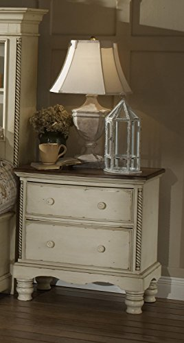 Wilshire Antique Pine Finish (Two-Drawer Nightstand With Antique White Finish And Rope Details)