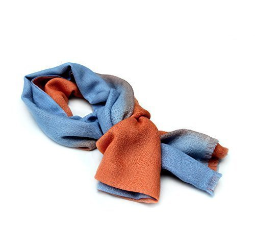 100% Cashmere Ombre Stole, (100/2 Mongolian Yarn Composition) Blue and Orange Ombre Lightweight Stole, Light Brown border © Moksha Cashmere by Moksha Cashmere