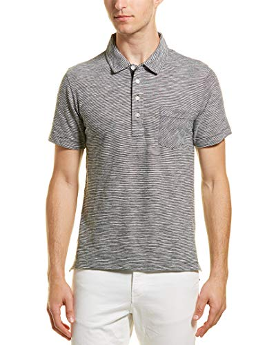 Billy Reid Men's Short Sleeve Pensacola Polo Shirt with Pocket, navy ombre stripe, XL