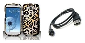 Bloutina Samsung Galaxy S III Premium Combo Pack - Gold Cheetah Design Hard Case + ATOM LED Keychain Light + Micro USB...