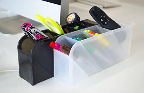 STYLIO Office Desk Organizer - Caddies for Office/Teacher Supplies – Translucent Black & White Caddy Organizer Racks (Set Of 4) Perfect for Desktops by Stylio (Image #2)