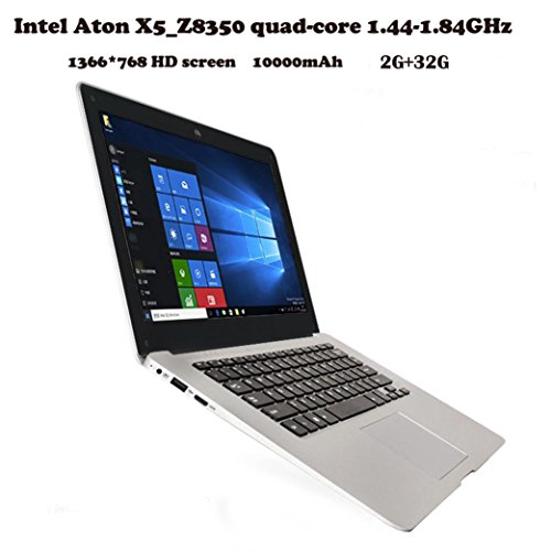 2018 Newest Ultra-thin 14.1'' Flagship Laptop Notebook, Intel Atom X5-Z8350 Dual Core 1.44GHz, 2GB RAM, 32G Hard Disk, USB 2.0, 10000 mAh Li-Battery, 1366x786 pixel, Windows 10, Only Wireless Wifi by ZLOSKW