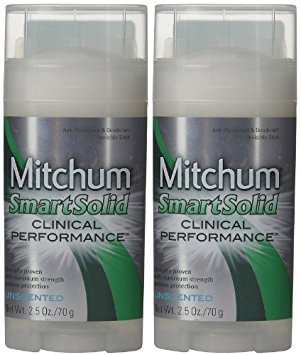 Mitchum Smart Solid Clinical Performance Antiperspirant & Deodorant for Men, Unscented - 2.5 oz - 2 pk by Mitchum