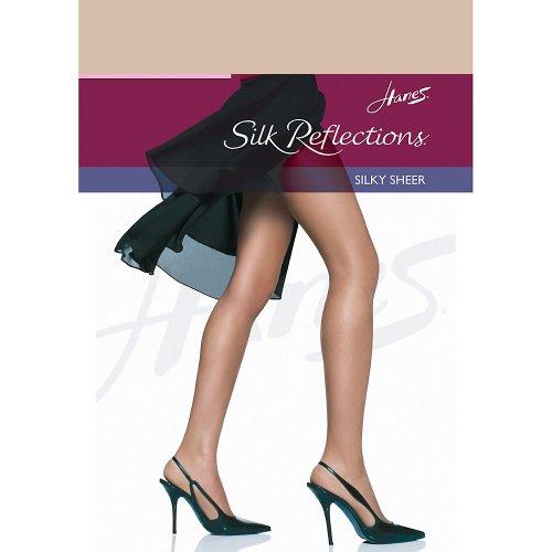 Hanes Women`s Set of 3 Silk Reflections Non-Control Top RT Pantyhose EF, Travel Buff -
