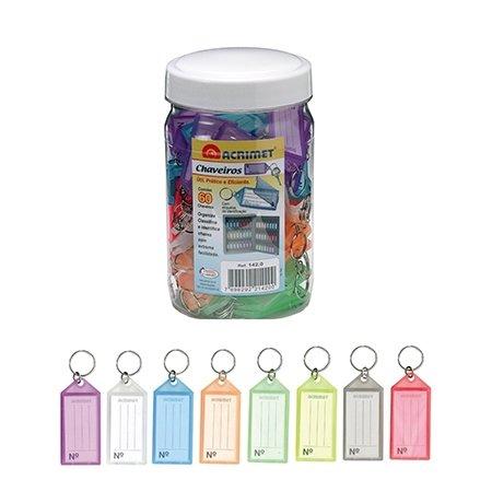 - Acrimet Key Tag Jar w/ 60 Keyring Tags (Assorted Colors)