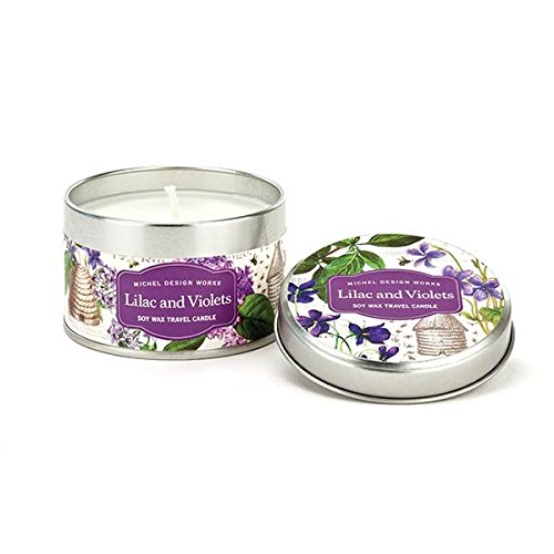 Michel Design Works Travel Tin Soy Wax Candle, Lilac and Violets, Lilac & Violets