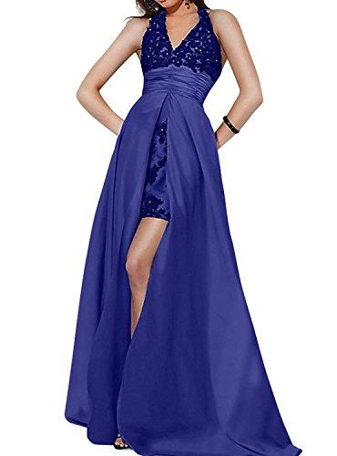 Abendkleider Ballkleider Partykleider mia Festlichkleider Brautmutterkleider Ausschnitt V Schleppe Spitze La mit Royal Neckholder Blau Brau q4wY1FFg