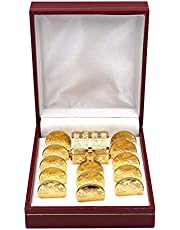 NH 24K Gold Plated Wedding Unity Coins with Decorative Display Case, Treasure Box, Classic Arras Ceremony Souvenirs, Beautiful Gift Set Marriage Matrimoniales Boda (1. Centenario)