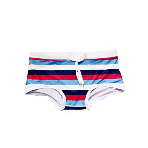 ZQ@QXSlip de bain pour hommes zebra stripe Klein maillot de bain bikini bas serré,M,Red