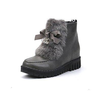 Ch & Tou Womens-tobilleras Boots-leisure Formal-plateau-square Plateau-pu (poliuretano) -negro Gris, Us8.5 / Eu39 / Uk6.5 / Cn40