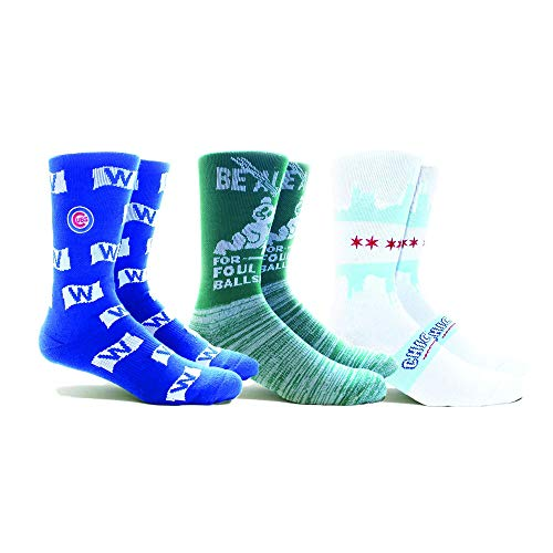 PKWY by Stance MLB Men's Local Collection 3-Pack Socks (Medium, Chicago Cubs)