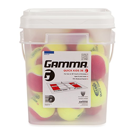 Low Training (Gamma Sports Kids Training (Transition) Balls, Yellow/Orange, Quick Kids 60, Bucket of 48)