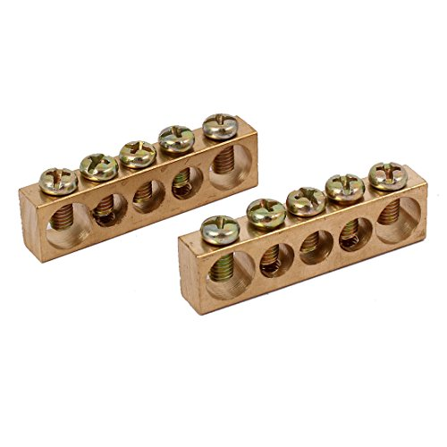 uxcell 5 Positions Electric Wire Screw Terminal Ground Copper Neutral Bar 2pcs ()