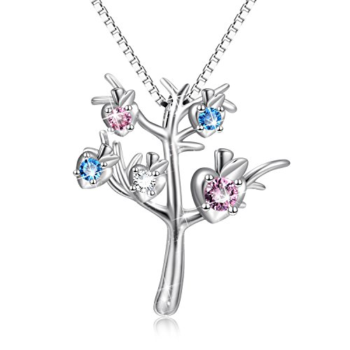"YFN Family Tree of Life Jewelry 925 Sterling Silver Apple Pendant Necklace 18"" (Tree of Life Jewelry)"