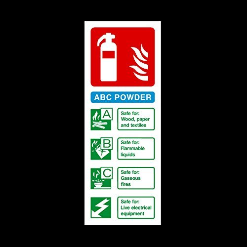 Fire Extinguisher ABC Powder Sign Stickers Vinyl Self Adhesive Fire Emergency Exit Warning Safety Sign Lables(Fe30)