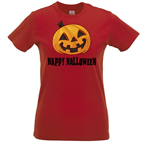 Felice Halloween Sorridente regalo costume spaventoso divertente Pumpking Viso T-Shirt Da Donna