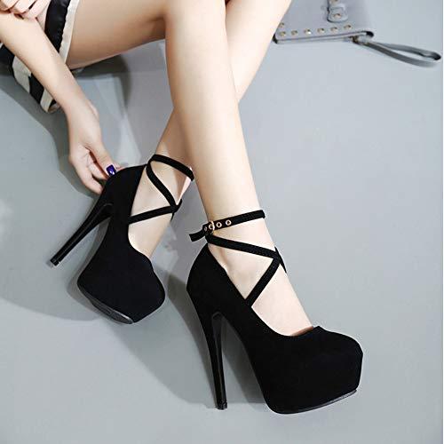 Impermeabile Tacco Caviglia Pumps Scarpe Uirend Col Sexy Elegante Camoscio Nero Donna Alto Cinturino EaRx8Pq
