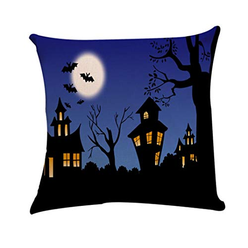 ❤JPJ(TM)❤️_Halloween products Halloween Pillowcase,1pcs New Square Pillow Cover Cushion Case Toss Hidden Zipper Closure Pillowcase -