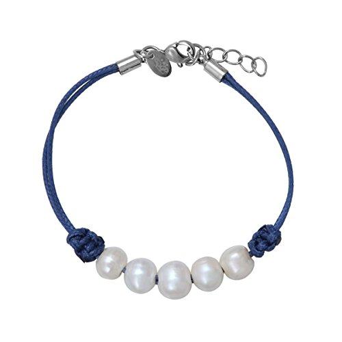 Perles de Philippine - Bracelet perle de culture blanche sur 5 rangs et cordon bleu en coton ciré