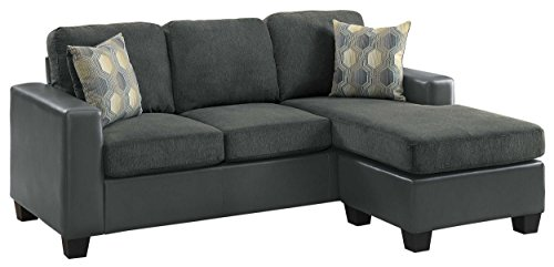 Homelegance Slater Two Tone Reversible Chaise Sofa, Gray