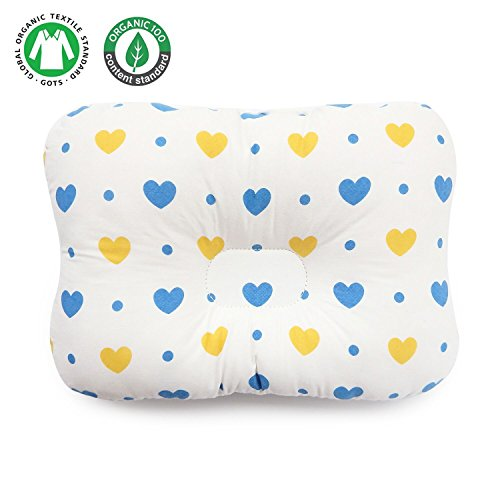Baby Pillow - Unisex for Newborn & Infant - Cotton Flat Head Baby Pillow makes baby?s head round - Protect Plagiocephaly (Flat Head Syndrome)