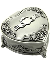 Irish Box Claddagh Jewelry Heart Shaped Pewter Made in Ireland