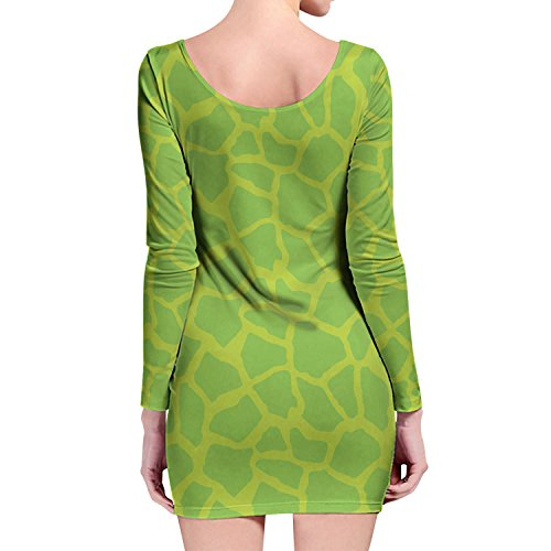 Jirafa impresión brillante verde manga larga Bodycon vestido