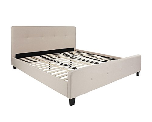f67eb8d6034c97 Flash Furniture Tribeca King Size Tufted Upholstered Platform Bed in Beige  Fabric