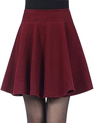 Tanming Women's Short High Waist Flared Wool Skater Skirt Multiple Colors