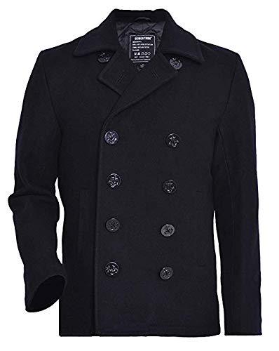 Seibertron Men's Woolen Coat US Navy Type 80% Wool USN Pea Coat Black S