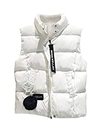 WISREMT Women's Puffer Vest Collapsible Lightweight Jacket Warm Sleeveless Coat